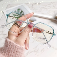2021 Big Frame Polygon Myopia Glasses Women Men Vintage Anti Blue Light Eyeglasses Student Shortsigh
