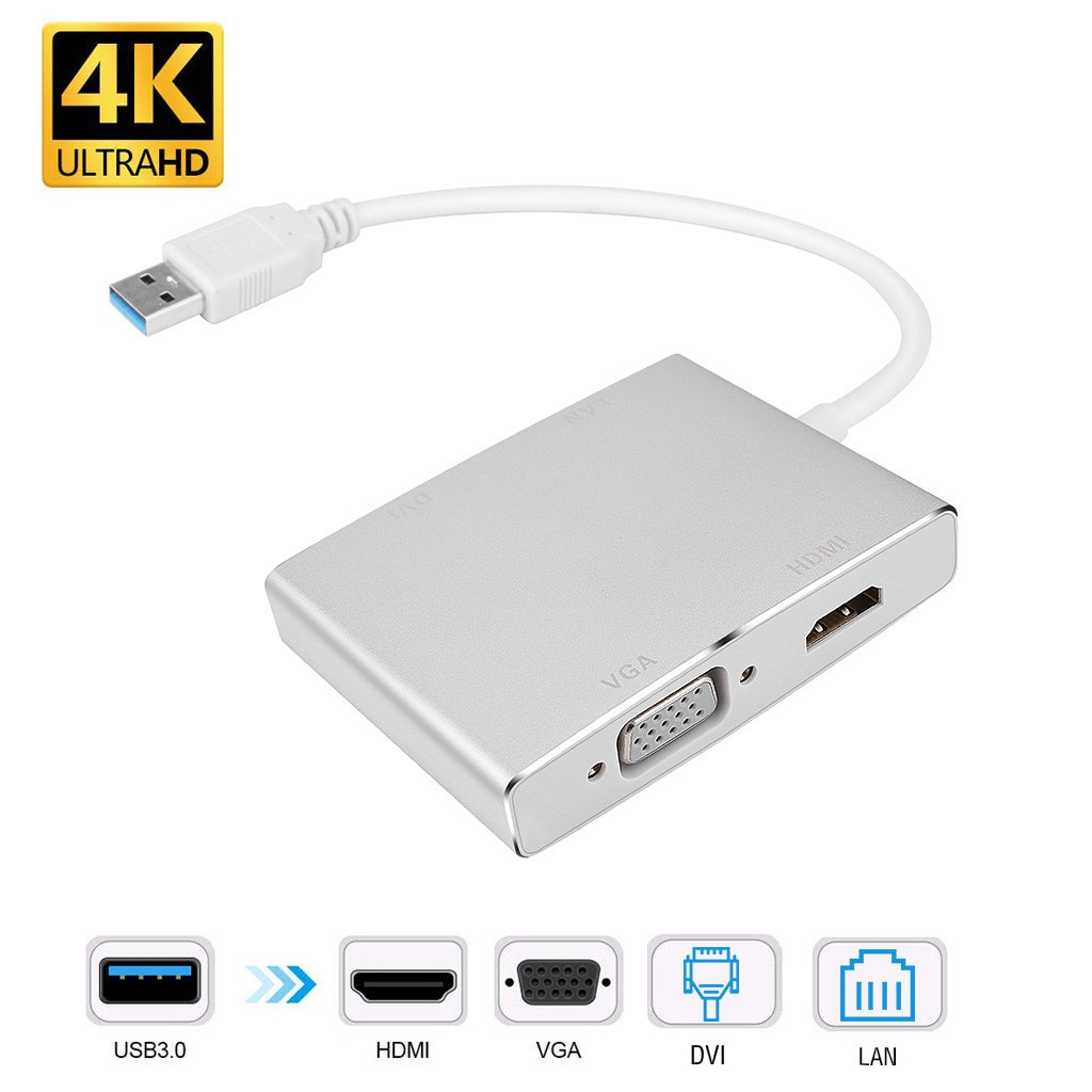 Adaptador conversor usb 3.0 para dvi vga hdmi, hd lan ethernet rj45 gigabit 4 em 1, adaptador para portátil para pc hub c laptop tipo e30