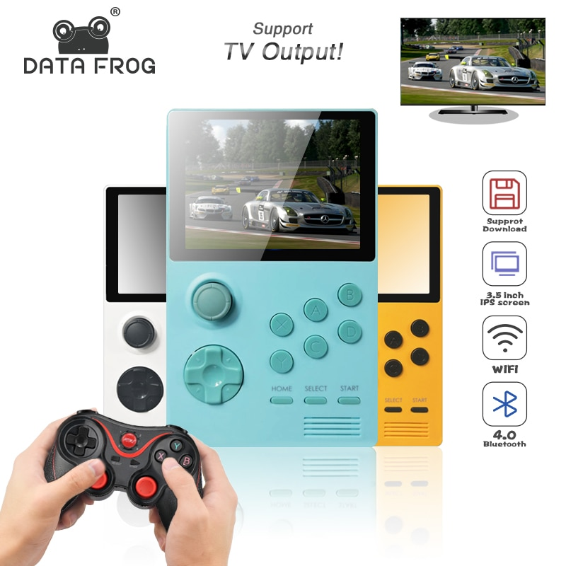 DATA FROG Retro Video Game Console Handheld Game Consoles Support for PSP IPS Screen Built-in 3000+games 30 3D games HD Output
