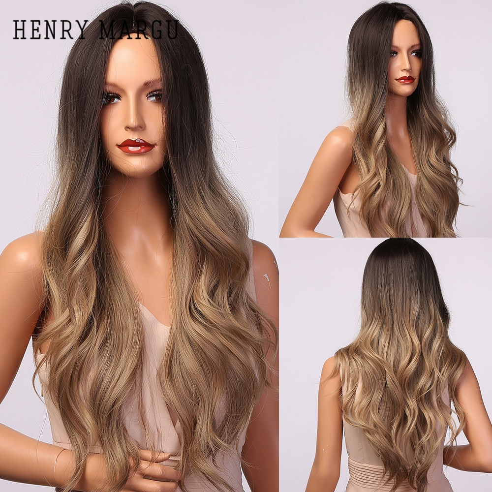 هنري مارغو-شعر مستعار صناعي مموج طويل للنساء السود ، شعر مستعار تأثيري مع فراق في المنتصف ، مقاوم للحرارة