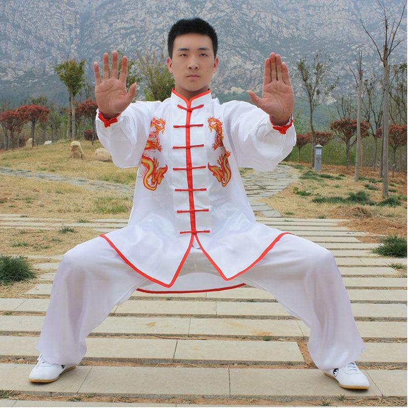 USHINE HX09 белый podwójny smok NE chidanski Tai Chi odzieж с длинными рукавами KungFu mundury Wushu Tai Chi Art walki gar| | | АлиЭкспресс