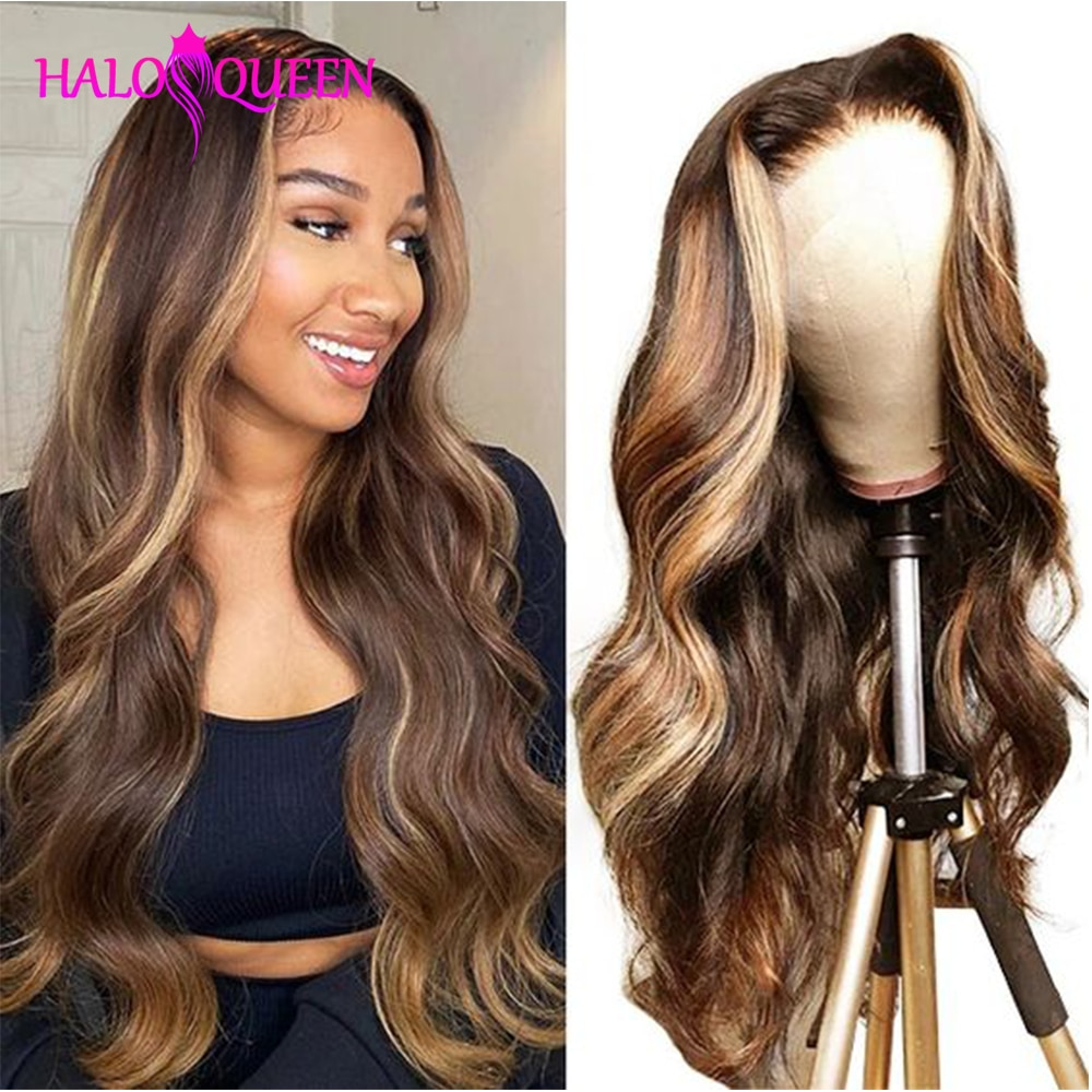 Blonde Body Wave Lace Front Human Hair Wigs For Wome P4/27 Hair Remy Wig Highlight Colored Blonde Ombre Lace Frontal Wigs