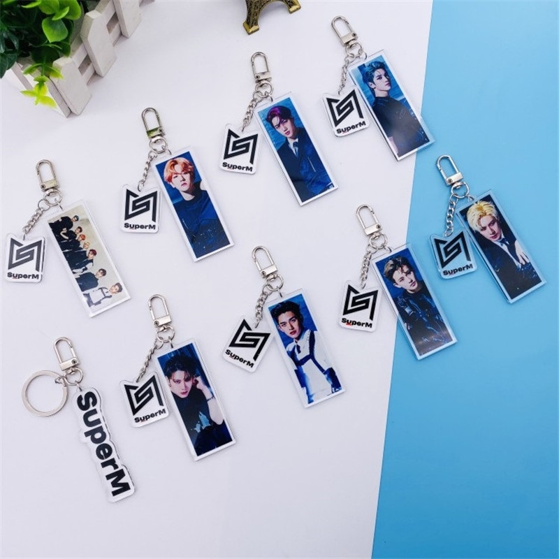KPOP Super M Mini álbum Super M Jopping forma cuadrada de acrílico clave cadena llavero KAI LUCAS TAEMIN TAEYONG BAEKHYUN diez MARK FH2