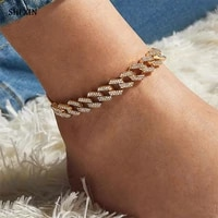 shixin iced out chain rhinestone anklet bracelet for women chunky crystal ankle bracelet on the legfoot chain jewelry 2021 gift