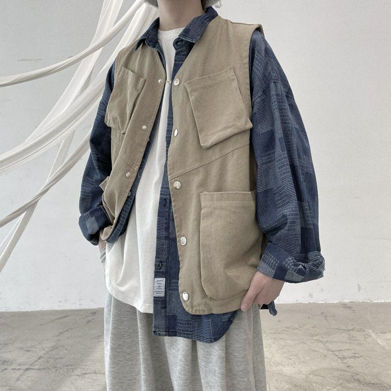 Spring And Autumn Pocket Vest Men's Fashion Retro Casual Vest Coat Men Streetwear Korean Loose Hip-hop Vest Jacket Mens M-XL