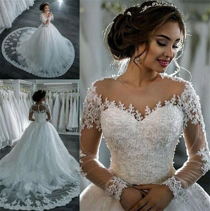 Vestidos De Noiva 2021 Elegant A-Line suknia slubna Wedding Dress Tulle Appliques Beaded Princess Lace Wedding Gowns trouwjurk