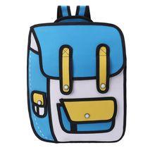 Estilo de salto 3D dibujo 2D de mochila de papel de dibujos animados bolso de hombro bolsa de cómic