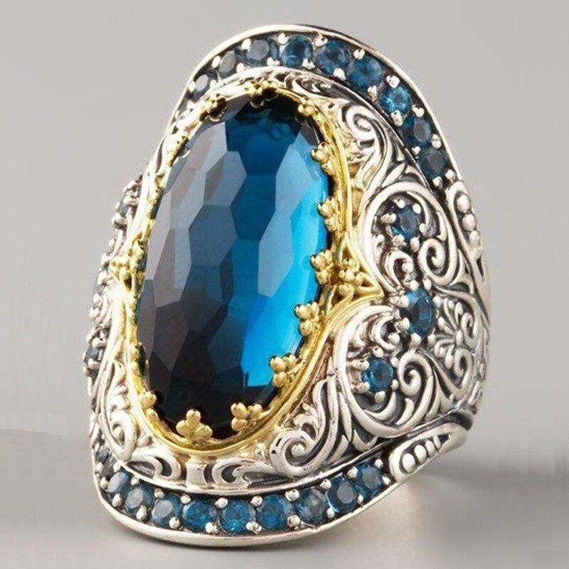 Anillos de boda de lujo de cristal azul de moda para las mujeres Vintage patrón antiguo oro anillo de compromiso Boho joyería gótica regalo