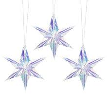 Film arc-en-ciel en 3 pièces   Ornement détoile Hexagonal pentagramme scintillant, décoration pour fête de noël vitrine