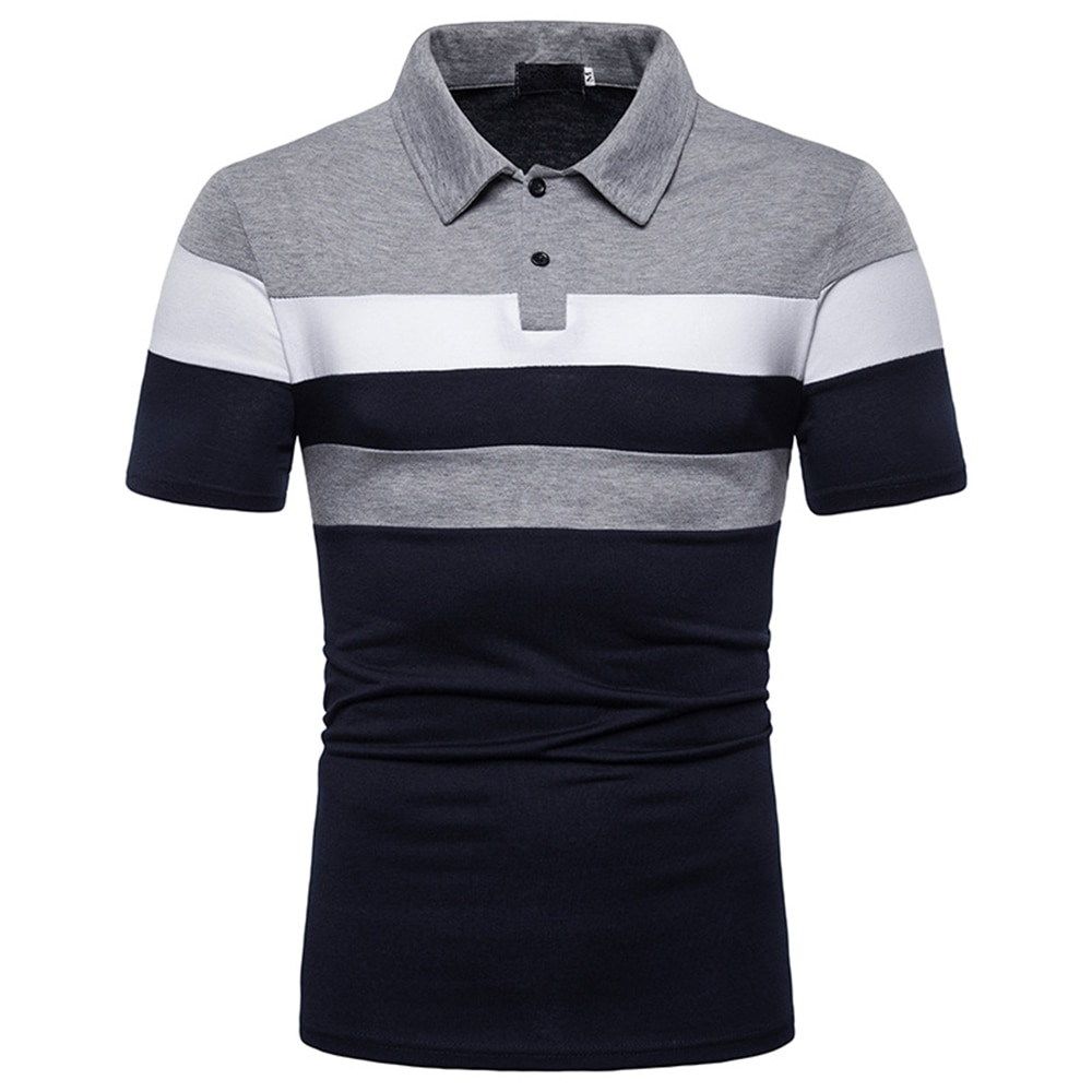 Mens Contrast Color Stitching Polo Shirt Summer Short Sleeve Buttons Classic Top Male Comfortable Business Casual T-shirts D30