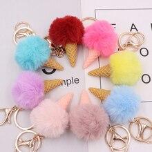 Porte-clés boule de fourrure pompon porte-clés crème glacée porte-clés femmes sacs accrocher pendentif pochette, porte-clé femmes hommes bijoux