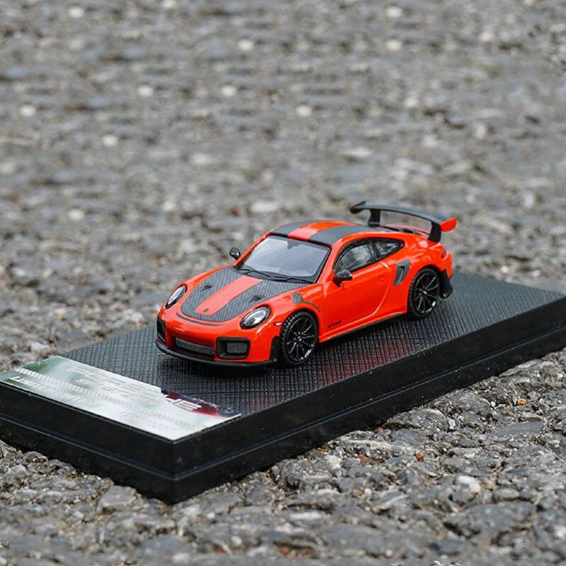 Edición limitada 1/64 aleación Diecast supercoche en miniatura 911 GT2 RS Vehículo de metal juguetes colección niños tráfico regalos pantalla