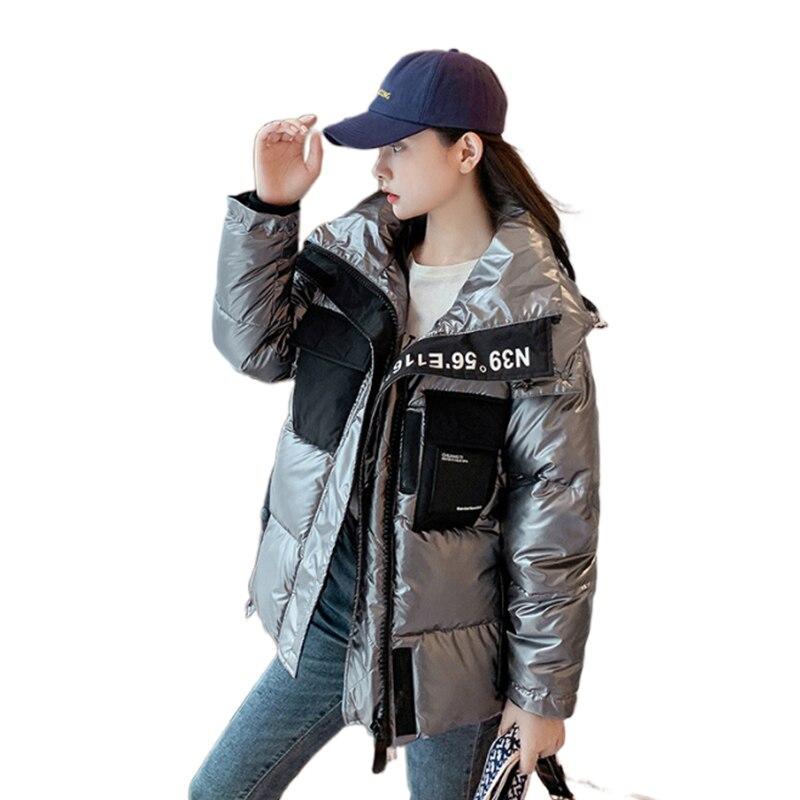 Женская Стеганая куртка с капюшоном Fanco, сияющая стеганая куртка с капюшоном, новая Корейская версия, свободная Толстая стеганая куртка для ...