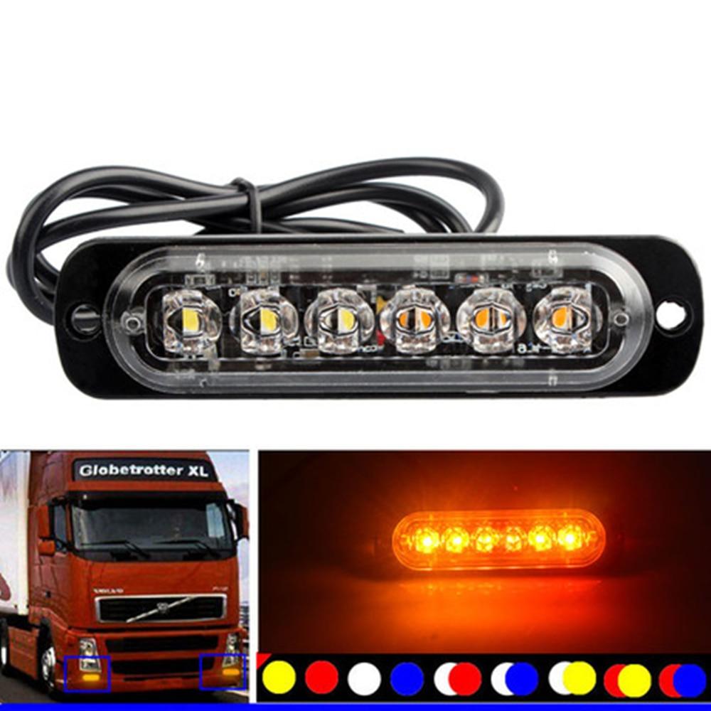 Strobe Warning Light 6 LED Amber Emergency Light Grill Flashing Breakdown Car Truck Trailer Beacon Lamp LED Side Light For Cars