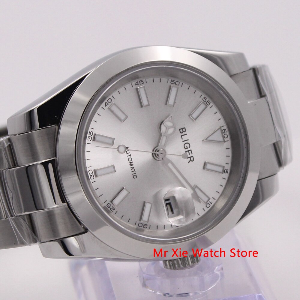 Bliger, reloj mecánico automático de 40mm para hombre, reloj de lujo con calendario luminoso resistente al agua de cristal de zafiro, caja de acero inoxidable para hombre