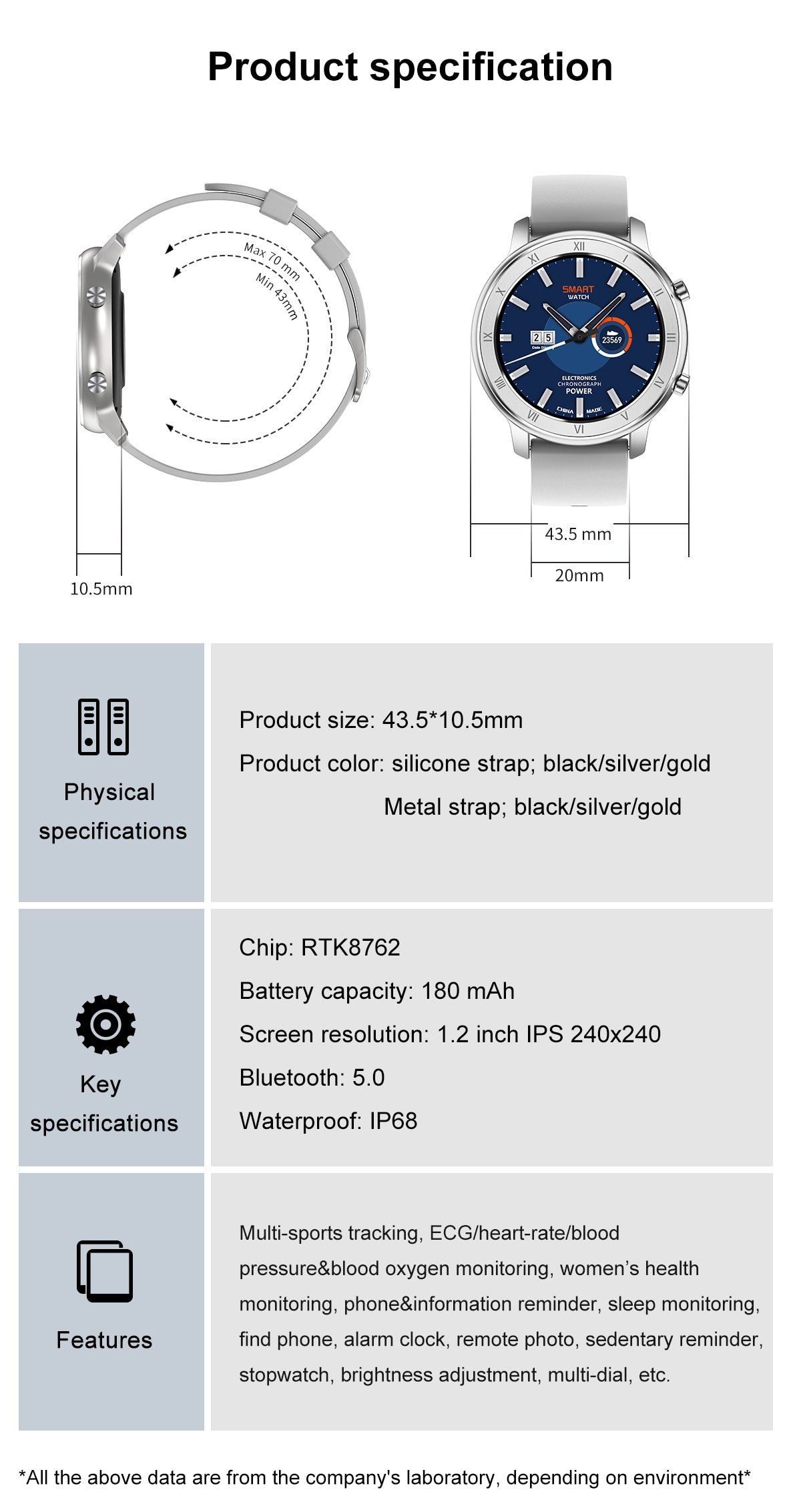 Smart Watch Bluetooth5.0 IP68 Waterproof Men Women Smartwatch For IPhone Android Watch Heart Rate Monitor Fitness Tracker DT-89 enlarge
