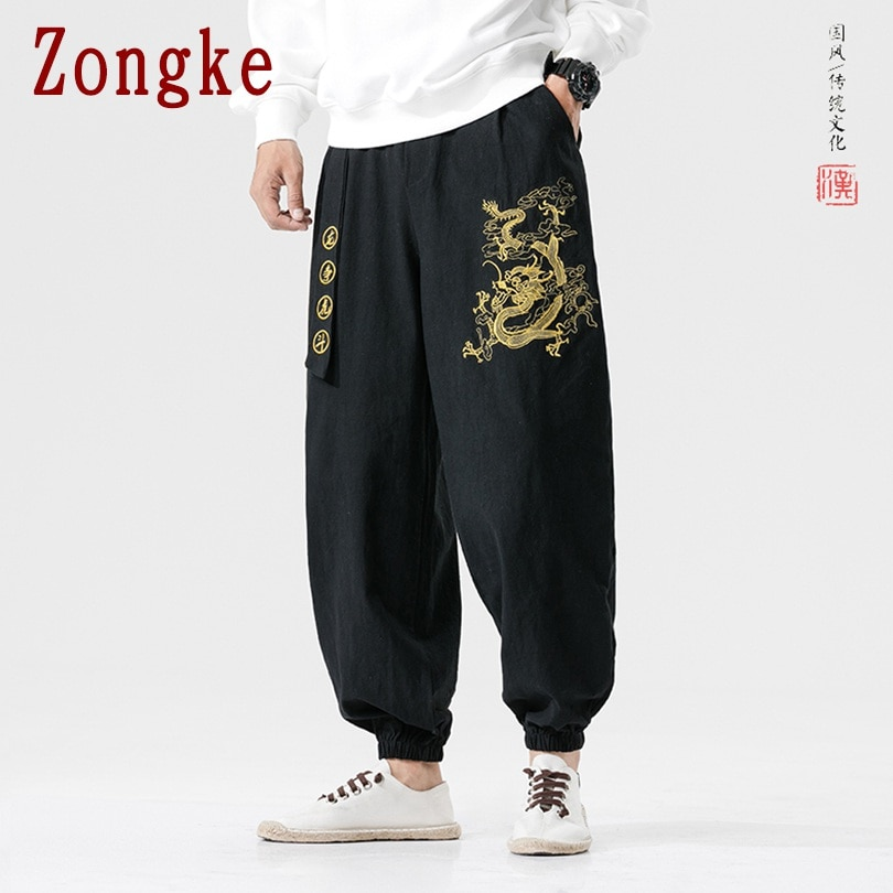 Zongke-بنطلون رجالي مطرز على شكل تنين ، ركض ، ملابس الشارع ، بدلة رياضية ، حريم ، 5XL ، ربيع ، جديد ، 2021