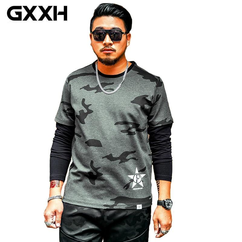 GXXH, camiseta de manga larga informal de talla grande para hombre, Camiseta de algodón a la moda de otoño para hombre, camiseta de talla grande para hombre 3XL 4XL 5XL 6XL 7XL
