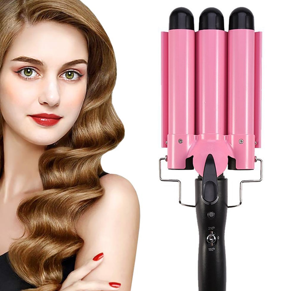 tambor triplo curling ferro onda grande ondulacao do cabelo ondulado modelador de