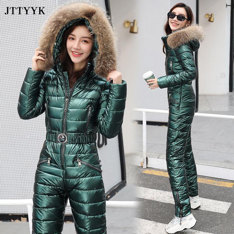 One Piece Ski Suit Women Jackets Winter Hooded Parka Jumpsuit Women Cotton bodysuit Sashes Jumpsuits Zipper Overalls Tracksuits