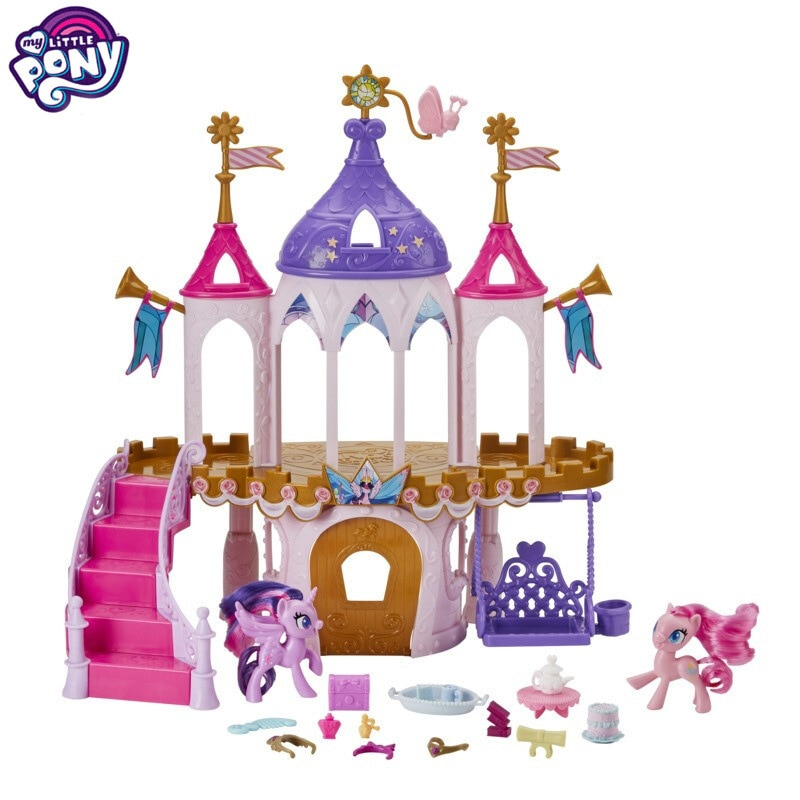 Hasbro meu pequeno pony amizade, castelo fantasia, conjunto, menina, brincar de casa, boneca, cavalo
