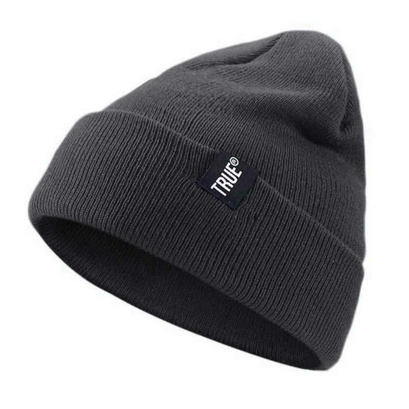 Men Women Winter Snow Ski Knitted Cotton Skull Cap Solid Color Stretchy Cuffed Beanie Hat Ear Warmer
