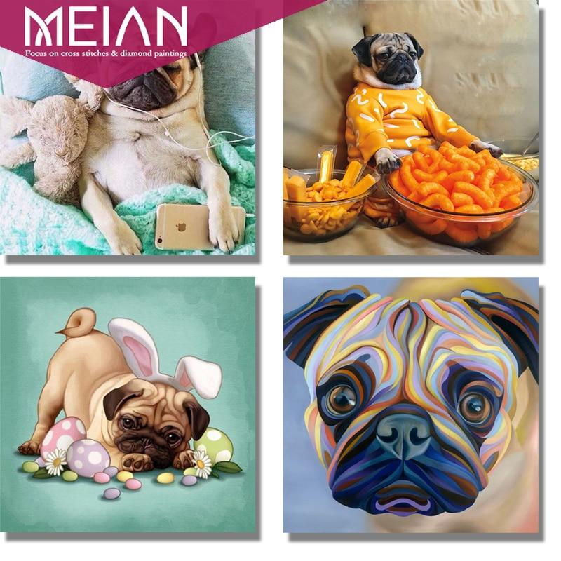 2020 MEIAN Dog 5d Diamond Painting Embroidery Diy Diamond Mosaic Pug Dog Animal Diamond Pictures Art European Wall Art Decor