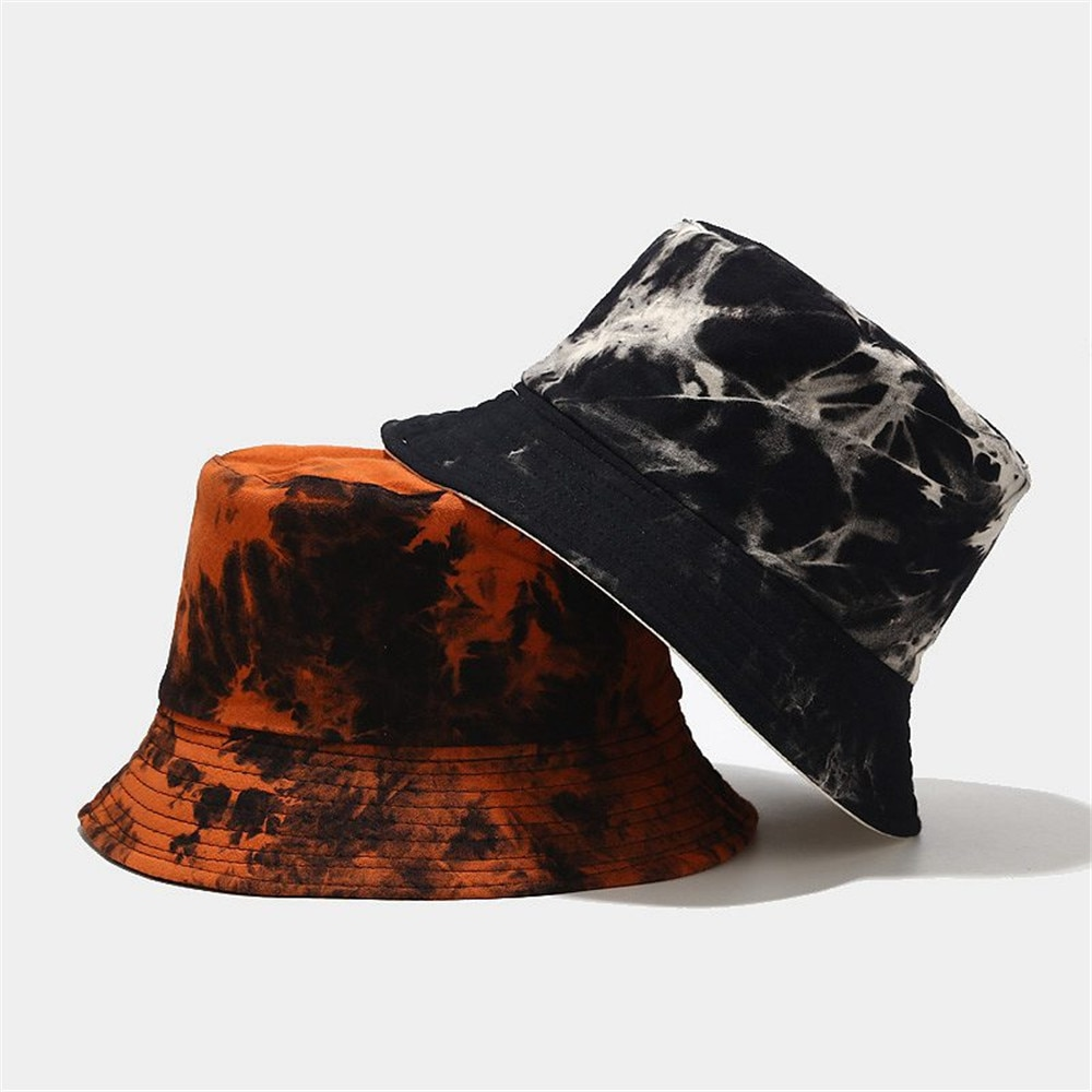 2021 Graffiti Style Panama Summer Harajuku Bucket Hat Colorful Tie Dye Fisherman Hat Reversible Bob Bucket Cap For Men Women