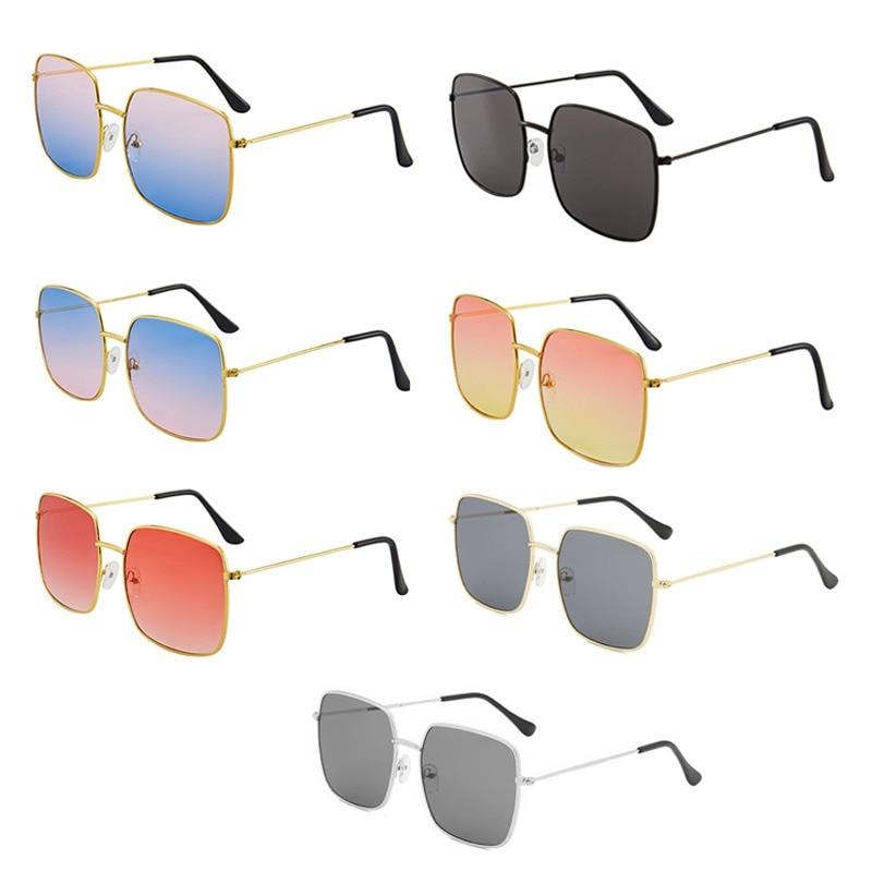 Square Sunglasses Women 2021 New Fashion Lady Oversize Square vintage Sunglasses Women Men Metal Fra