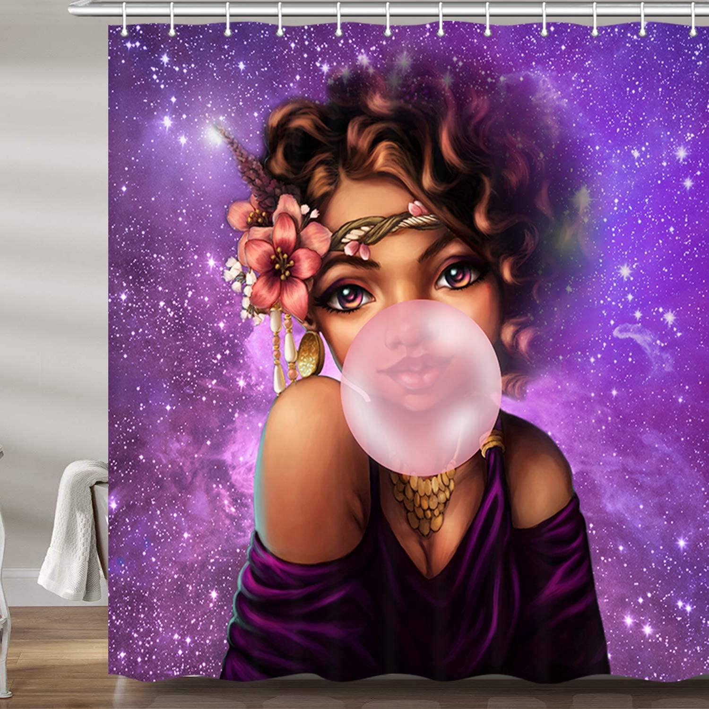 Chica africana americana Afro negro mujer Gum en púrpura Galaxy cortinas de baño