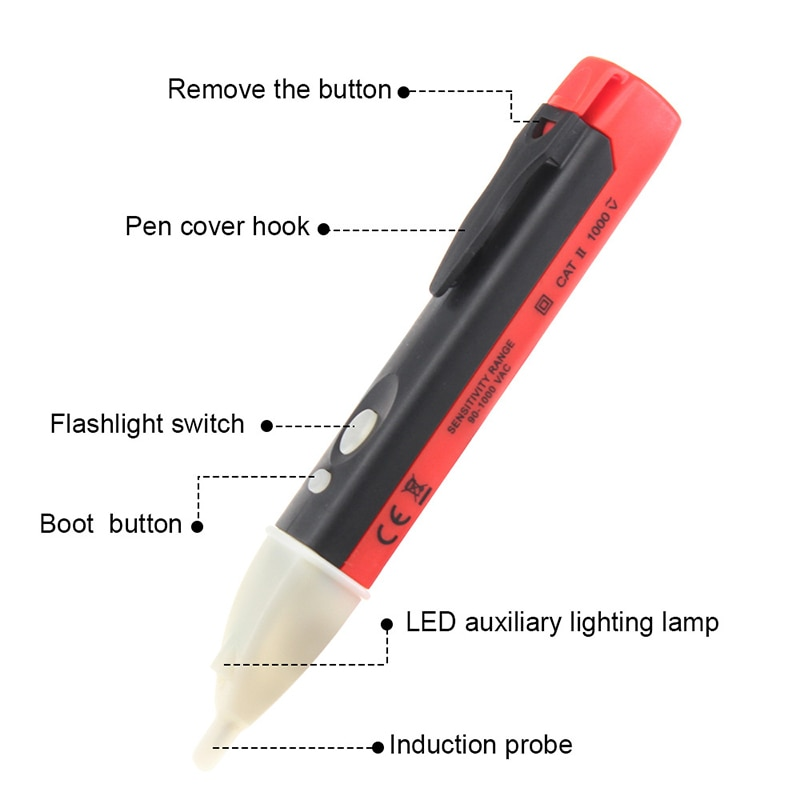 Бесконтактный напряжение тест электрический индикатор 90-1000 В розетка стена переменный ток питание розетка напряжение детектор датчик тестер ручка светодиод свет