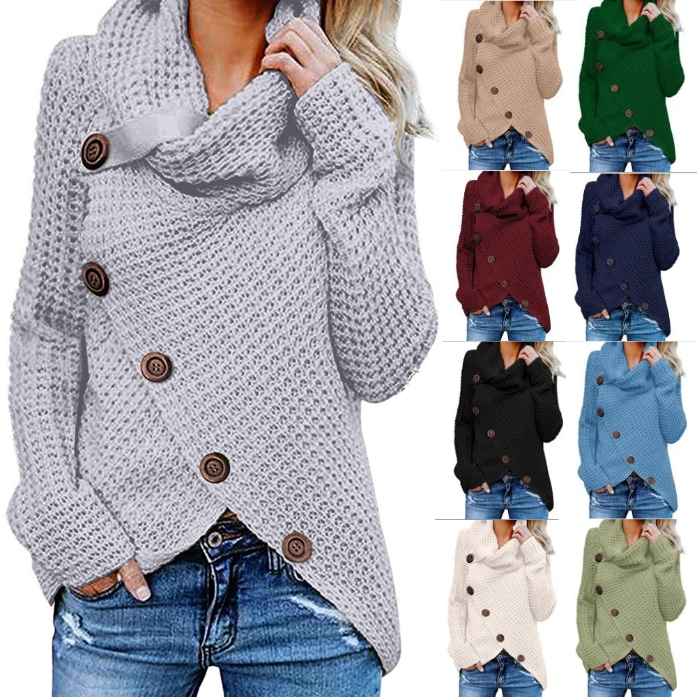 Spot Trend 2020 Long Sleeve Knitwear Europe and America New Turtleneck Pullover Button Women's Sweater