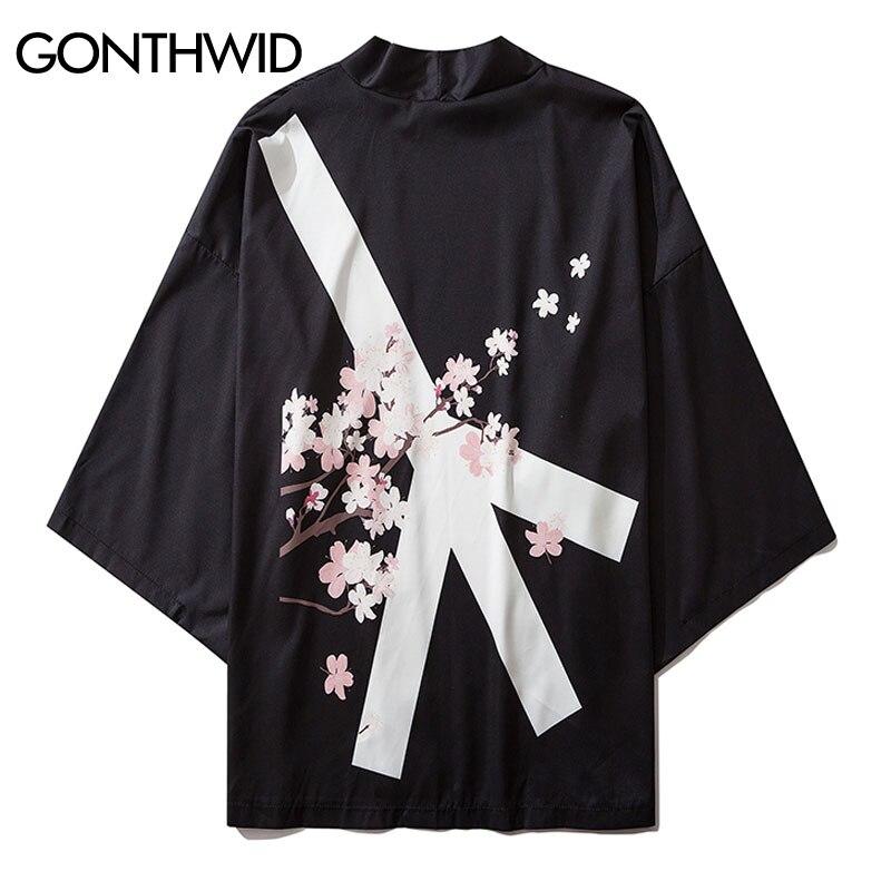 GONTHWID Anti-guerra paz flores de cerezo estampado Kimono japonés Rebeca Camisas Chaquetas Streetwear Hip Hop verano Casual abrigo camisetas