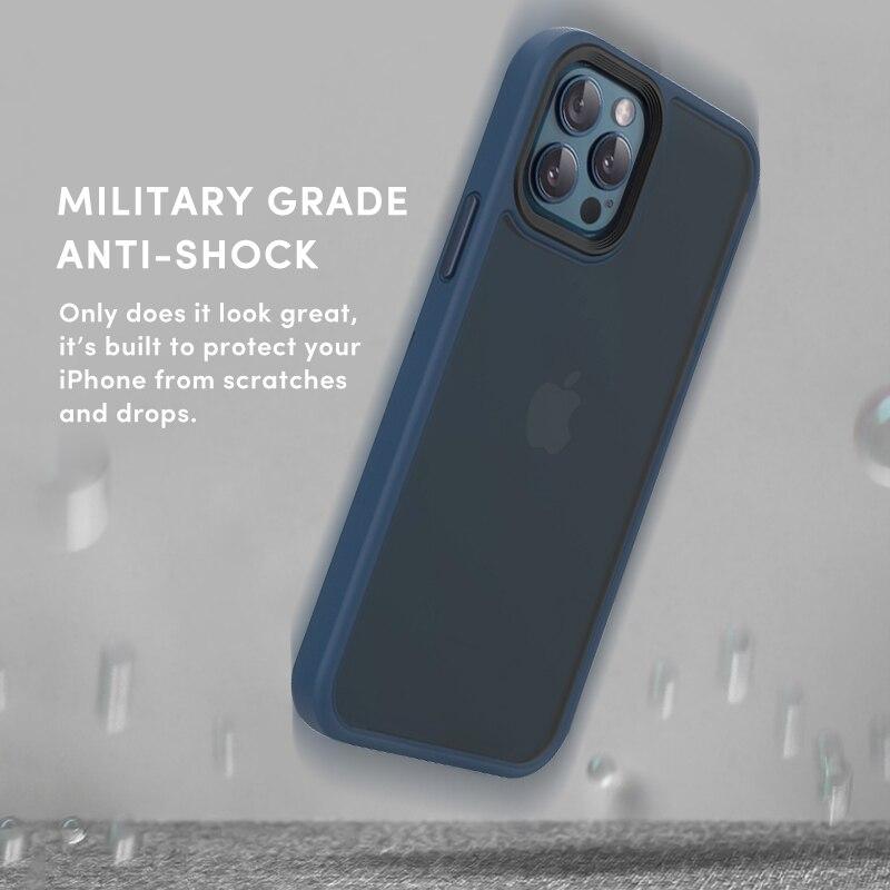 SUAIOCE Original Skin For iPhone 12 Mini Anti-knock Case For iPhone 12 Pro Max Matte Translucent Cover Luxury Protective Case