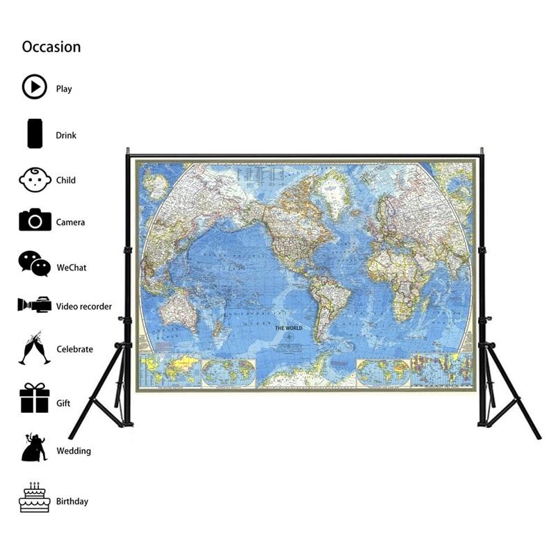 225*150cm 1970 Welt Karte Non Woven Wand Aufkleber Papier Reise Atlas Poster Kunst Handwerk Karte der welt für Bar Cafe Zimmer Decor