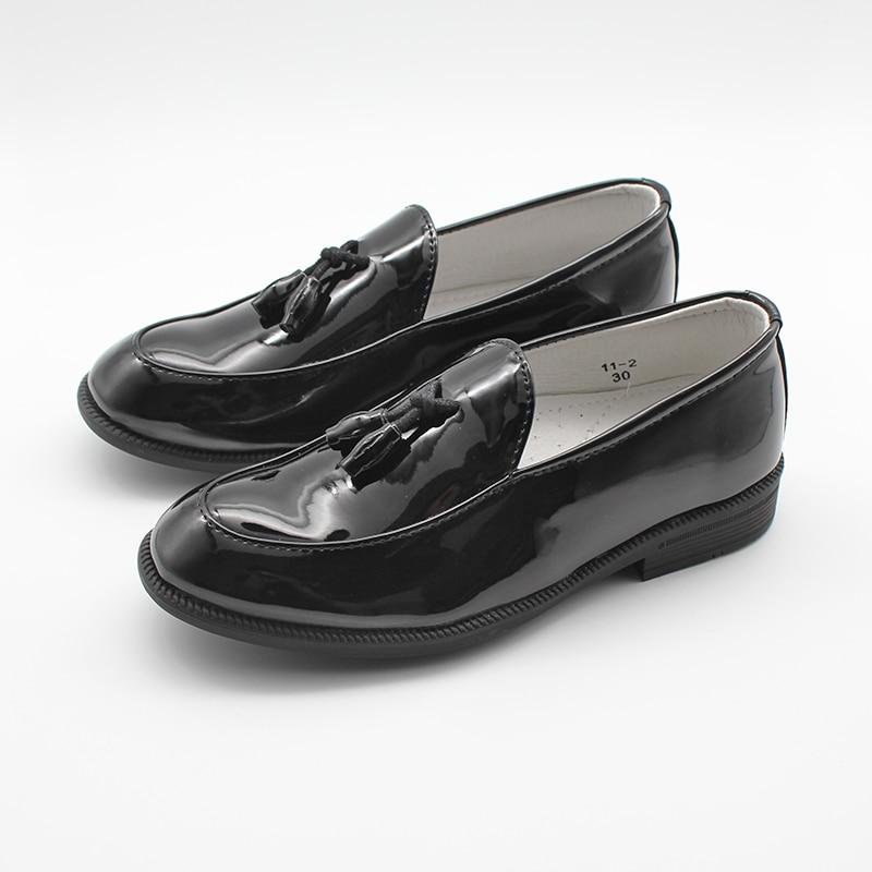 Туфли для мальчиков без шнуровки, официальные лакированные лоферы из искусственной кожи, Детская Классическая обувь с кисточками, свадебные туфли, обувь для маленьких мальчиков, младенцев, 20 38 Кожаная обувь    АлиЭкспресс
