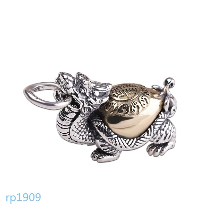 KJJEAXCMY joyería de boutique artículos de hombre tortuga dragón colgante S925 plata de ley Xuanwu colgante de personalidad