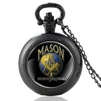 classic men women quartz pocket watch mason worldwide brotherhood pendant necklace watches jewelry gifts