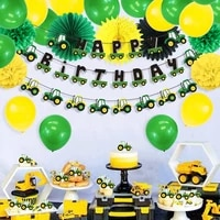 cartoon car theme party free decorations set kids boys hanging happy birthday banner vitality green tractor baby shower supplies