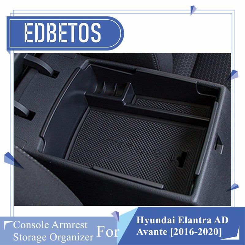 Caixa de apoio de braço central para hyundai elantra ad e hyundai avante 2016 - 2020 carro duplo andar antiderrapante reunindo caixa de luva de armazenamento