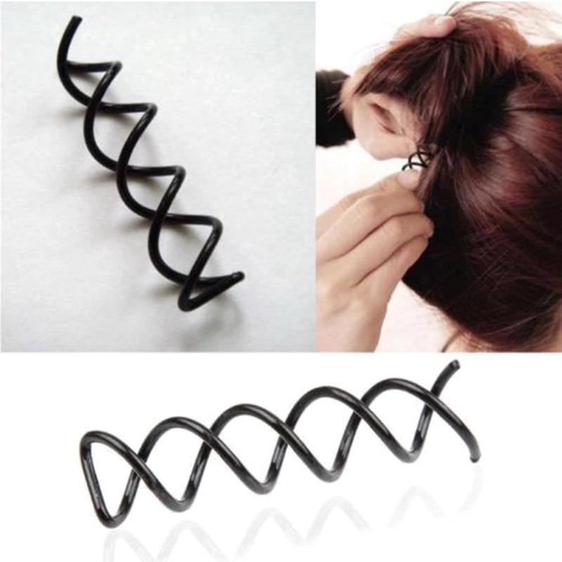 12 pcs preto espiral parafuso de rotacao bobby pino grampos de cabelo senhora torcao