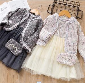 Hot selling girls princess hicken sets 2019 autumn winter new long sleeve coats + skirts 2 pcs suits children clothes ws1603
