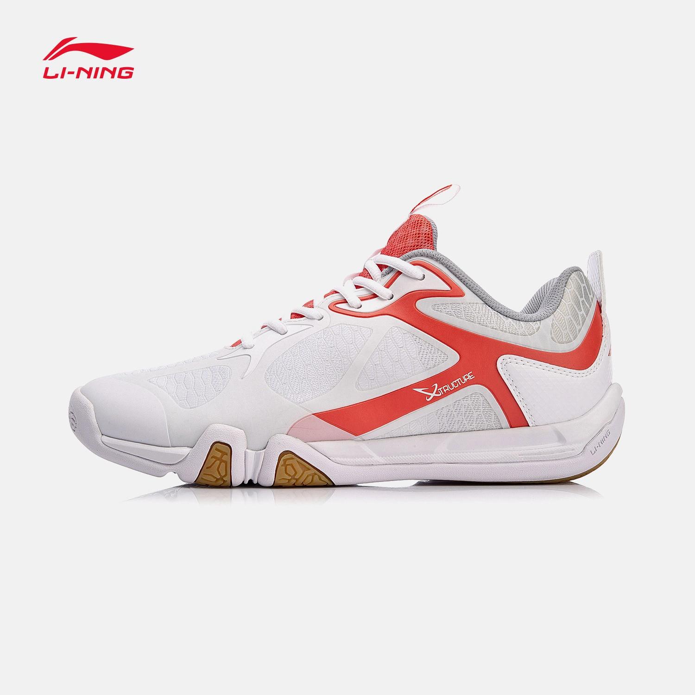 Туфли Li-Ning мужские легсветильник для бадминтона, дышащие Нескользящие кроссовки, подкладка, удобная спортивная обувь для тренировок, AYTM031-1