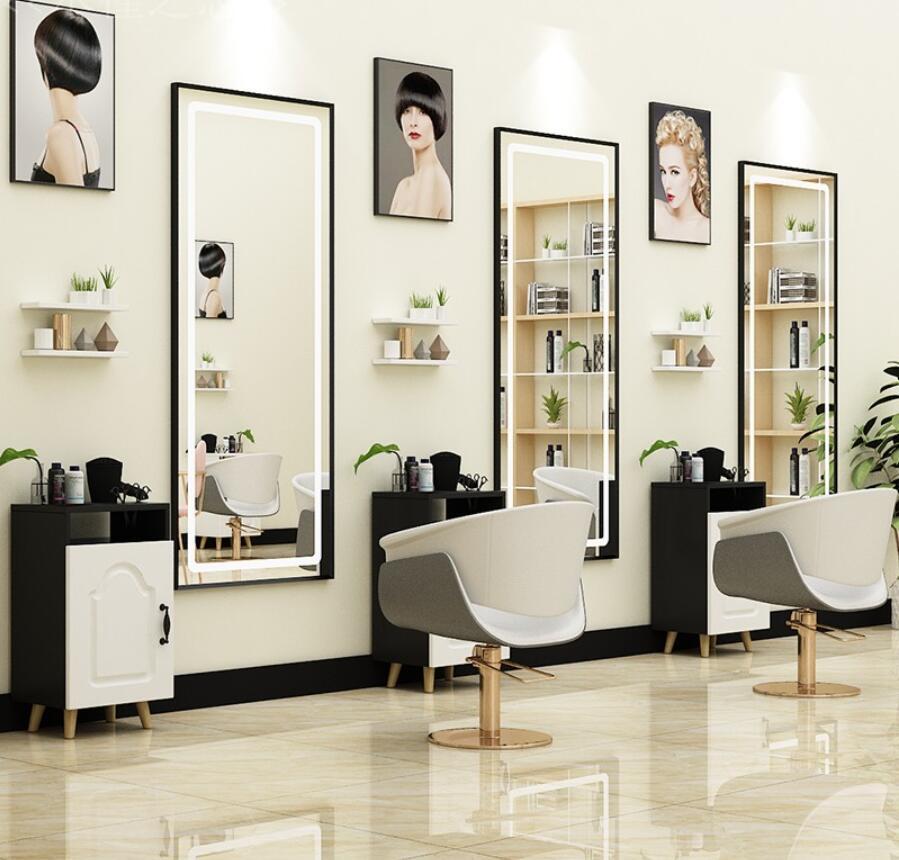 Парикмахерские ножницы настенное зеркало парикмахер магазин этап шкаф комплексный косметический зеркало парикмахерский салон простой св...
