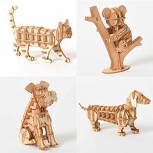 Découpe Laser en bois 3D Puzzle mignon chat chien Koala modèle jouets éducatifs assemblage bois bureau décoration pour enfants enfants cadeau