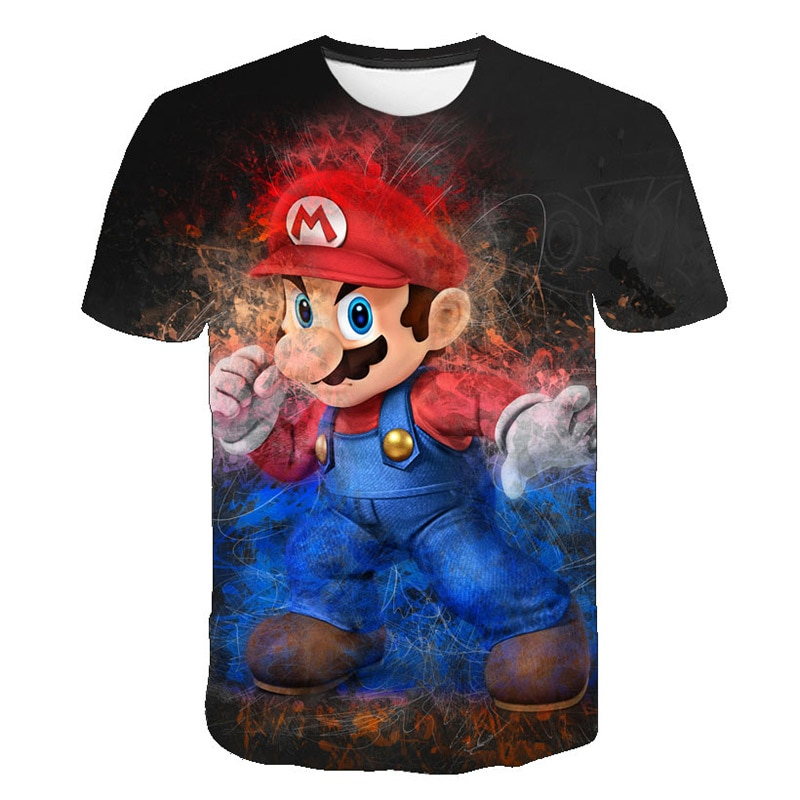 2019 Kids 3D Mario Print T-shirts Costume Boys Girls Summer Tees Top Clothing Children Clothes Baby Casual Tshirt