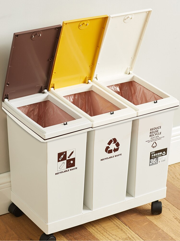 Recycling Bins Trash Can Luxury Kitchen Modern Large Garbage Sorting Trash Bin Kitchen Accessories poubelle Storage BC50TB enlarge
