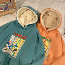 Graffiti Cartoon Printed Sweatshirt Men's and Women's Harajuku Woolen Hoodie 2021 New Hip Hop Fashio