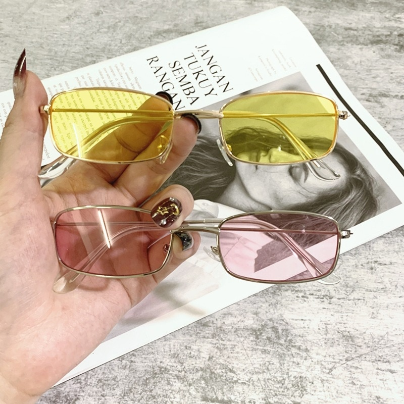 1PCs Small Vintage Retro Shades Rectangle Sunglasses UV400 Metal Square Frame Clear Lens Sun Glasses