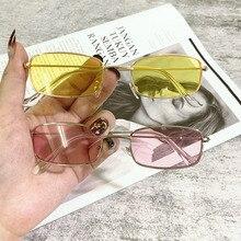 1PCs Small Vintage Retro Shades Rectangle Sunglasses UV400 Metal Square Frame Clear Lens Sun Glasses